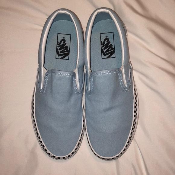Light Blue Checkered Rim Slip On Vans